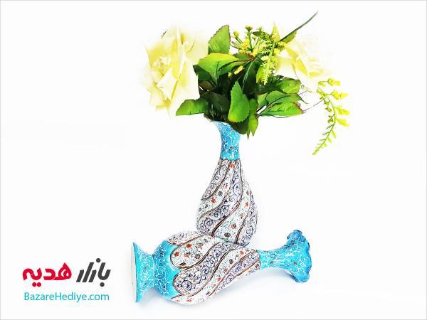 گلدان مسی میناکاری شده صراحی ۱۶ سانتی متری
