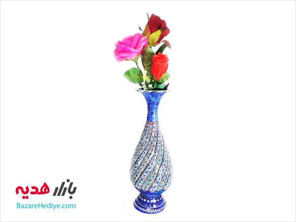 گلدان مسی میناکاری ۲۰ سانتی متری