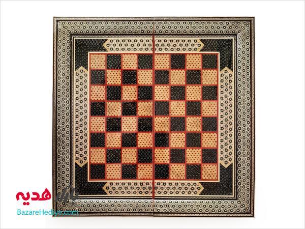 تخته نرد و صفحه شطرنج خاتم کاری ۵۰ سانتي متری