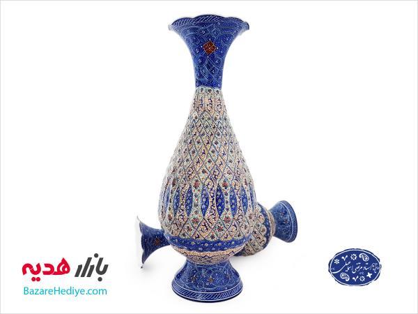 گلدان ميناکاري اسماعيلي طرح برجسته ۲۵ سانتي