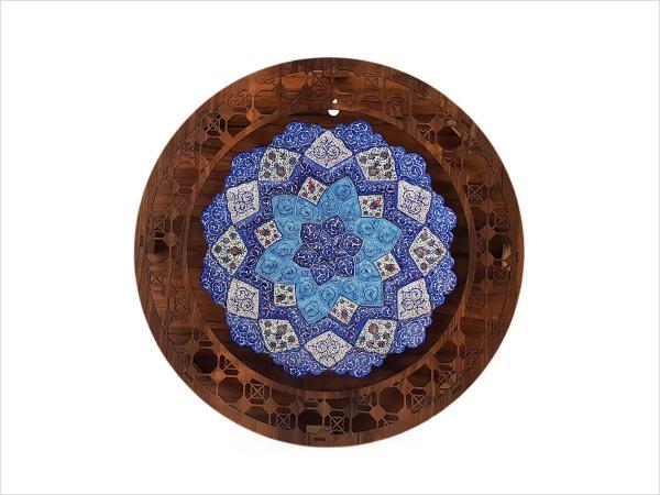 قاب گرد میناکاری اصفهان قطر ۲۵ سانتی