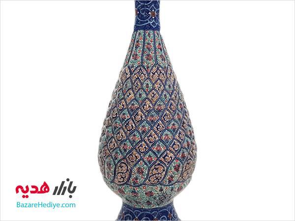 گلدان ميناکاري شده اثر شاهین شيرازي ارتفاع ۲۵ سانتي متر