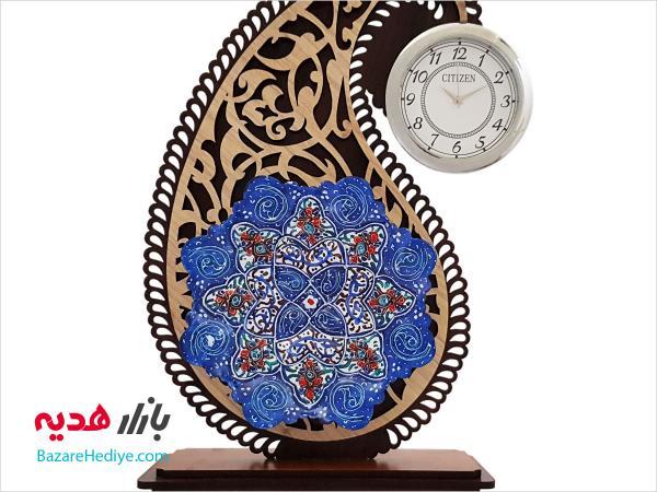 تندیس میناکاری ساعت دار نقش جهان